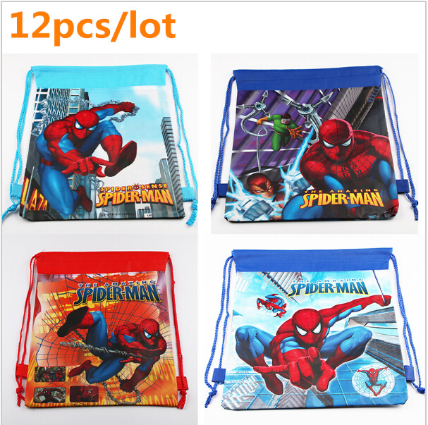 12 Pcs Lot New Spiderman School Bags Kids Drawstring Backpack Boys Cartoon Bag Back To Students Mochila Escolar Infantil In From Luggage