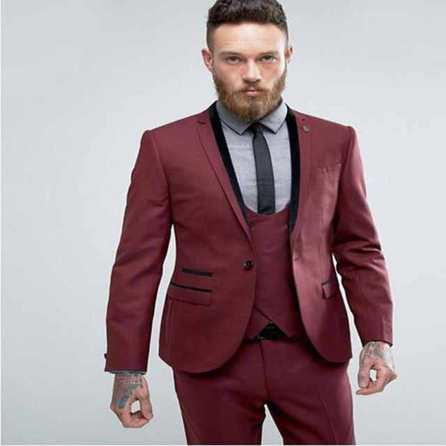 New Style Burgundy One Button Men Suits 2017 Slim 3 Pieces Wedding ...