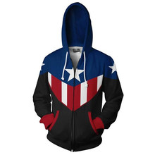 цены на Fans Wear Captain America Sweatshirt Cosplay Hoodie Bucky Cap Cosplay Zip Up Hoodie Superhero 3D Printed Hooded Sweatshirts в интернет-магазинах