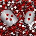 Venda! Super Brilhante Vermelho/Light Siam Cor 3D Decorações Nail Art Natator Não HotFix Natator Pedrinhas Prego Glitter KC80001