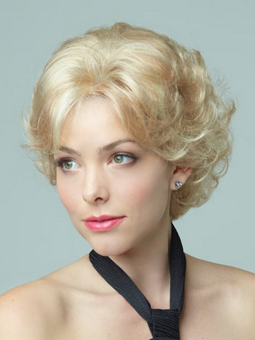 synthetic fluffy simulation scalp hair elegant short curly wigs for