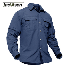 TACVASEN Mens Tactical Shirts Military Clothing Quick Drying Summer Cargo Work Fish Shirts Long Sleeve Convertible Army Shirts