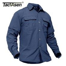 TACVASEN erkek taktik gömlek askeri giyim hızlı kuruyan yaz kargo iş balık gömlek uzun kollu cabrio ordu gömlek