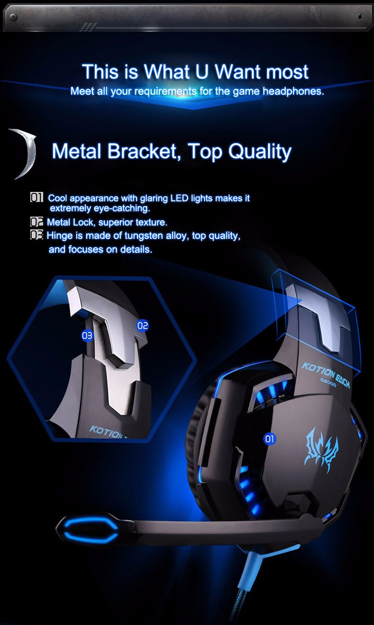 EACH G2000 Over-ear Gaming Headphone Headset Earphone With Mic Stereo Surrounded Bass LED Light For PC Game (30)