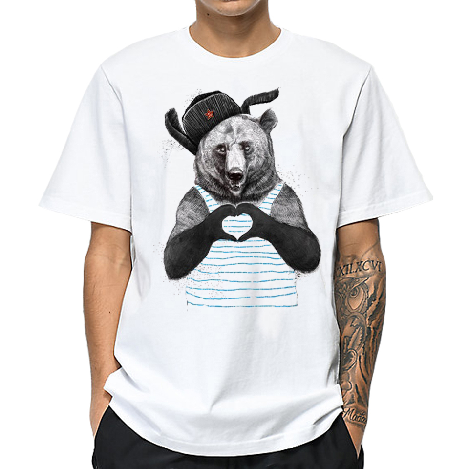 100% Cotton Men Cute   T     Shirt   Cartoon Heart Pattern Bear Animal Print Tee Tops Short Sleeve Funny Harajuku   T  -  Shirt   Plus Size