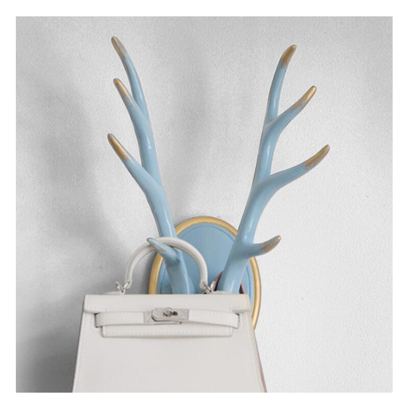 Resin Deer Head Antlers Animal Sculpture Figurines Ornament Wall Hanging Antlers Sculptures Coat Wall Hooks Rack Decorative