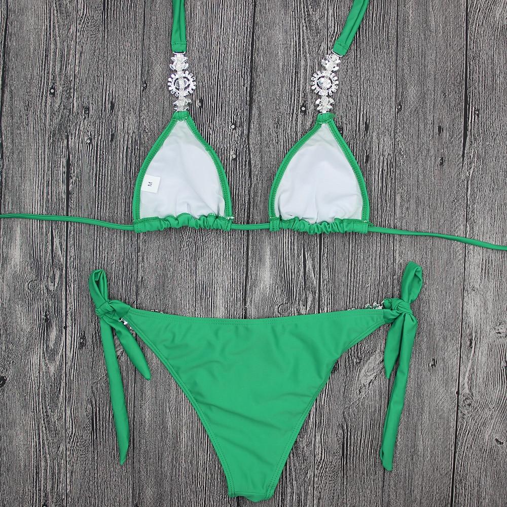 Bandage Bikini Crystal Swimsuit Monokini Swimwear Women Green Bikinis Brazilian Rhinestone Beachwear PushUp Bikini 2018 Biquini 5