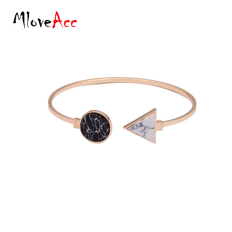 d59666ccf ③ New Tone Simple Trendy White Black Round Triangle Stone Cuff ...