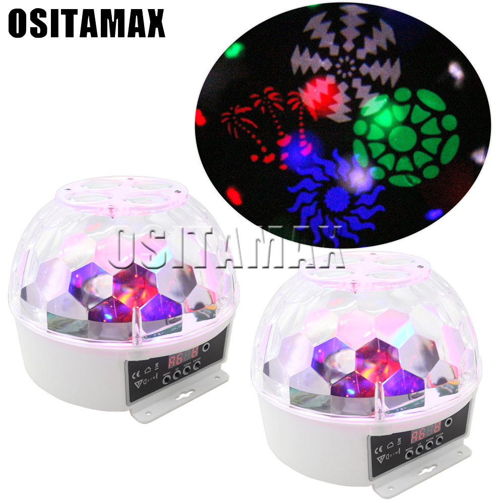 2pcs/lot Led Disco Light Stage Lights DJ Disco Ball Lumiere Sound Activated Laser Projector Effect Lamp Light Music Christmas Pa