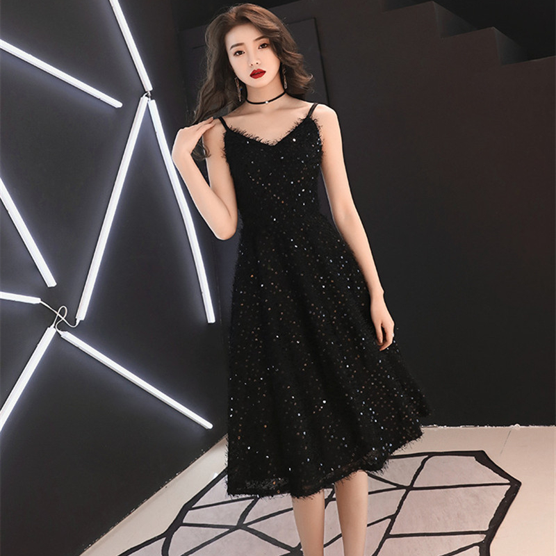 Sleeveless   Cocktail   Dresse Sexy V-neck Spaghetti Strap Formal   Dress   Sequined Tassel Knee Length Little Black Party Gowns E326