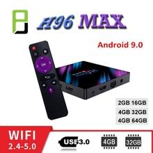 TV Box H96 MAX android tv Bluetooth 4.0 2.4G/5G WIFI Rockchip rk3318 4GB RAM 32GB 64GB Google Player Store Youtube