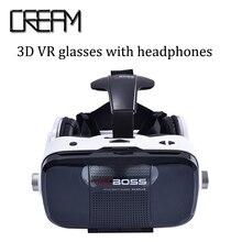 จัดส่งฟรีVR bossแว่นตา3dเสมือนจริงvrกล่องกับหูฟัง5.5-6.5นิ้วมาร์ทโฟนสำหรับการเล่นเกมนาฬิกาmovice