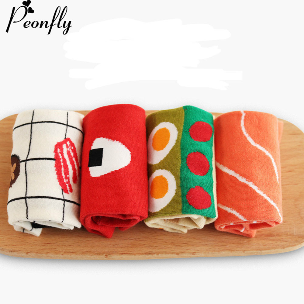 PEONFLY Korean Novelty Avocado  Sushi Food Women Ladies Socks Cotton Cute Female Christams gift sock
