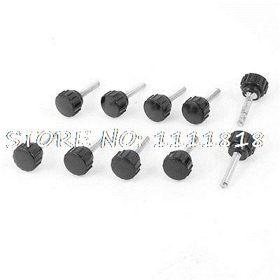 10 Pcs 4mm Dia 20mm Length Threaded Screw On Clamping Knob Black Silver Tone gold tone metal 13 32 threaded plastic fluted knob black