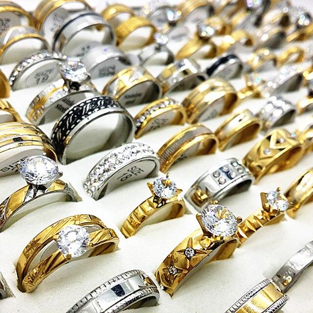 ขายส่ง 50pcs ชุดแหวนเงินทองผู้ชายผู้หญิง rhinestone zircon สแตนเลสสตีลโลหะแฟชั่นหมั้นเครื่องประดับ