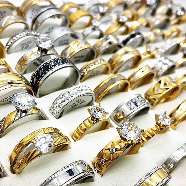 Toptan 50 adet yüzük seti altın gümüş renk erkek kadın büyük yapay elmas zirkon paslanmaz çelik metal moda nişan takı
