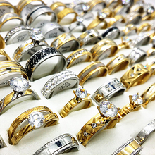 Wholesale 50pcs ring set gold silver color mens womens big rhinestone zircon stainless steel metal fashion engagement jewelry