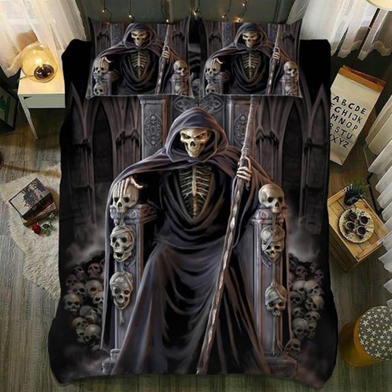 Drop Shipping 3D Digital Printing Bedding Set 100% Microfiber   Skull Queen King Size Throne Queen King  Size
