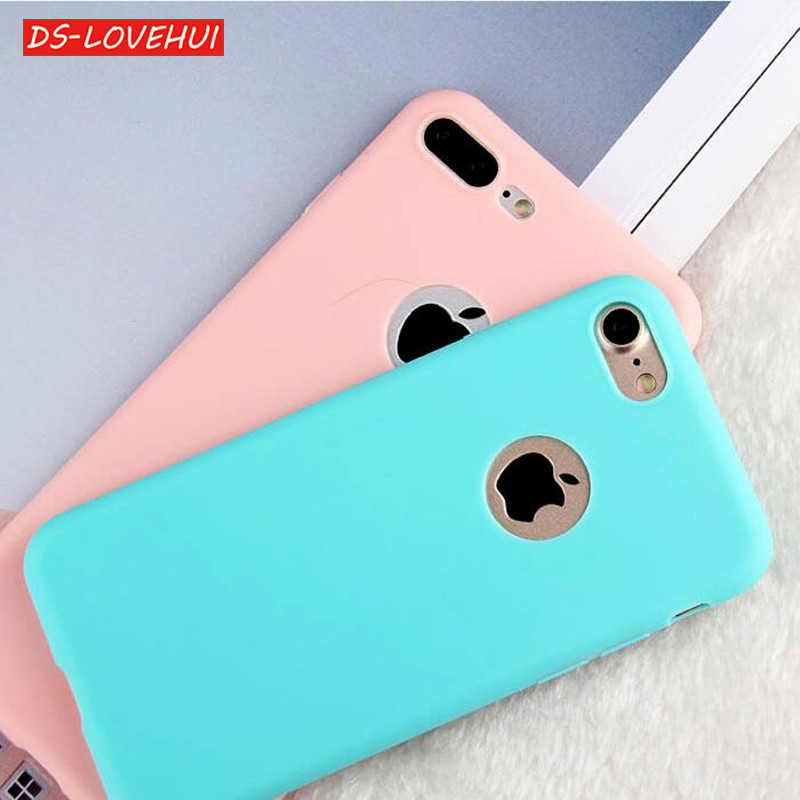 Funda suave DS-LOVEHUI TPU para iPhone 8 funda protectora 360 Color caramelo funda trasera de silicona para iPhone 5 5S 6 S 6 7 8 Plus X Coque