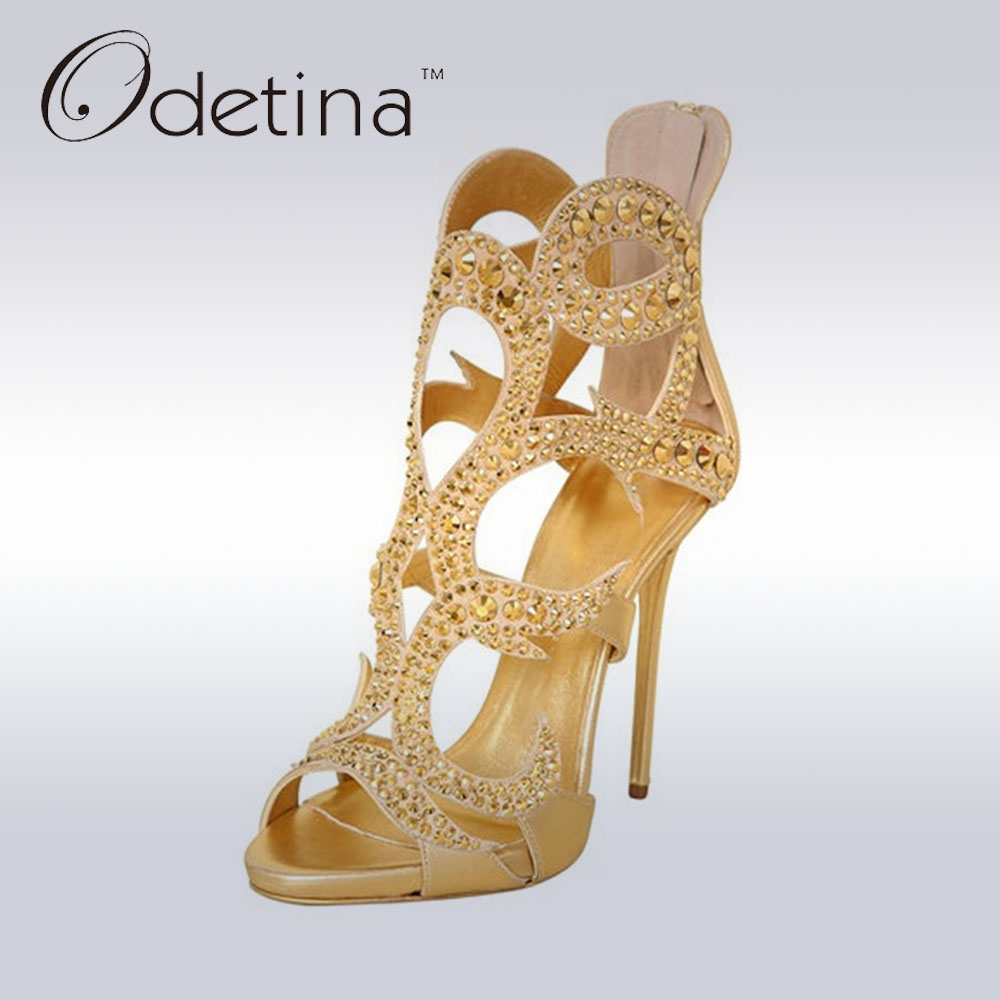 ФОТО Odetina Brand New Fashion Luxury Womens Peep Toe Sandals With Rhinestone Cut-outs Gold Sandals High Heels Sexy Pumps Open Toe