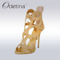 Odetina Brand New Fashion Luxury Womens Peep Toe Sandals With Rhinestone Cut Outs Gold Sandals High
