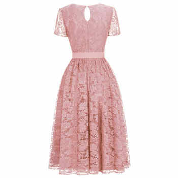 New Plus Size Pink Lace Short Evening Dress Cheap V Neck Short Sleeve Short Evening Gowns With Sashes Robe De Soiree Courte