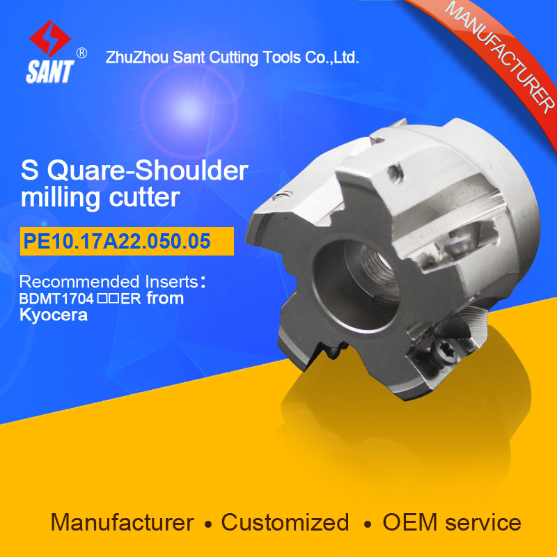 Indexable Milling cutter SANT PE10.17A22.050.05 with BDMT1704 carbide insert for Kyocera