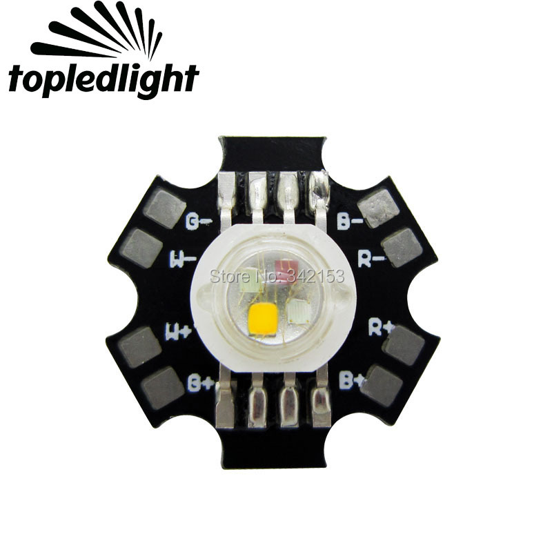 Topledlight 4W RGBWW High Power Led Emitter Bulb Lamp Light Beads Red Green Blue Warm White With 20mm Star Base PCB Board