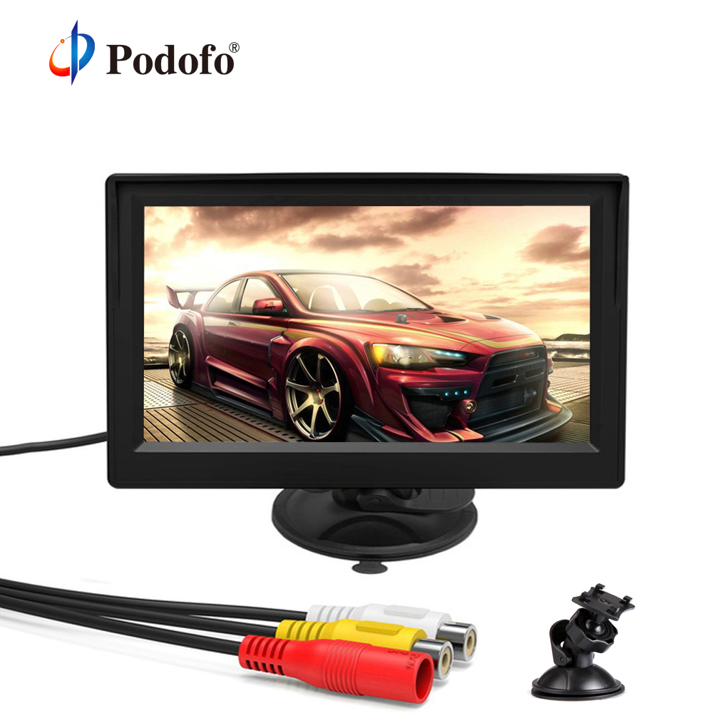 Podofo Mini Monitor Camera Auto-Tv Rear-View TFT LCD For Backup Reverse Support VCD DVD