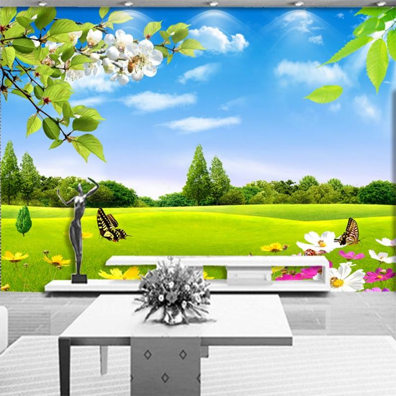 Custom Any Size 3D Photo Mural Wallpaper Blue Sky White Meadow Flower Nature Beauty Living Room Sofa Background Mural Wallpaper