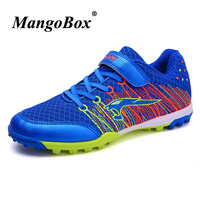 2018 Children's Football Shoes Spring Autumn Boys Artificial Synthetic Turf Shoes Blue Pink Mesh Football Shoes For Kids