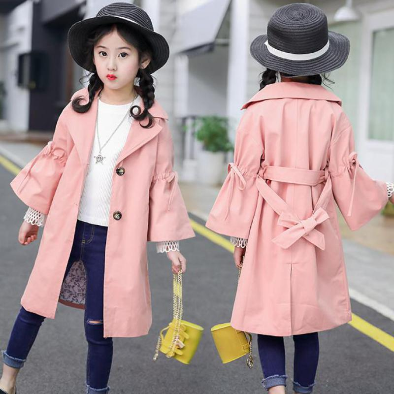 2018 Teens Girls Clothes 10 12 Years Cotton Windbreaker Jackets Long Autumn New Children's Clothing Toddler Girls Trench Costume kenneth cole ikc1892