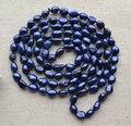 100% настоящее жемчужное ожерелье, темно-синий цвет 8 x 11 мм 50 дюйм(ов) барокко форма пресной воды жемчужное ожерелье долго жемчужные украшения