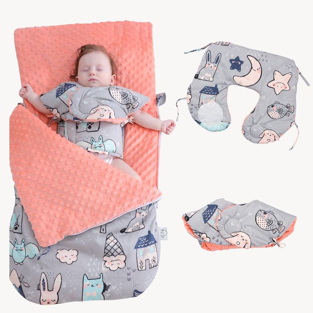 Saco de dormir de algodón con dibujos animados de animales, saco de dormir para bebés, sobres para sillas de ruedas para recién nacidos