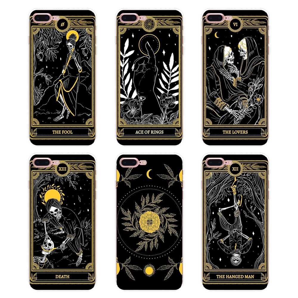 Чехол для iPhone XS Max XR X 4 4s 5 5S 5C SE 6 6 S 7 8 Plus samsung Galaxy J1 J3 J5 J7 A3 A5 cool card black The Marigold Tarot