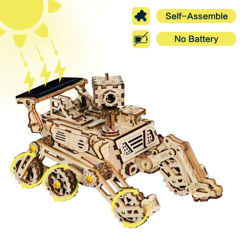 Robotime 4 Tipo 3D Espaço Móvel Caça de Energia Movido A Energia Solar De Madeira DIY Modelo de Brinquedo de Presente Criativo para Adulto Criança LS402