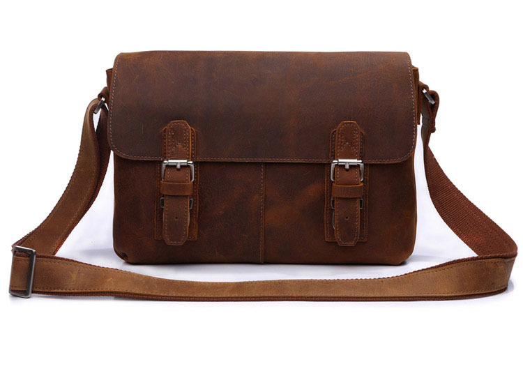 Crazy Horse Leather Mens Brown Shoulder Messenger Bag Crossbody Purse Hot Sell # 6002B-1Crazy Horse Leather Mens Brown Shoulder Messenger Bag Crossbody Purse Hot Sell # 6002B-1