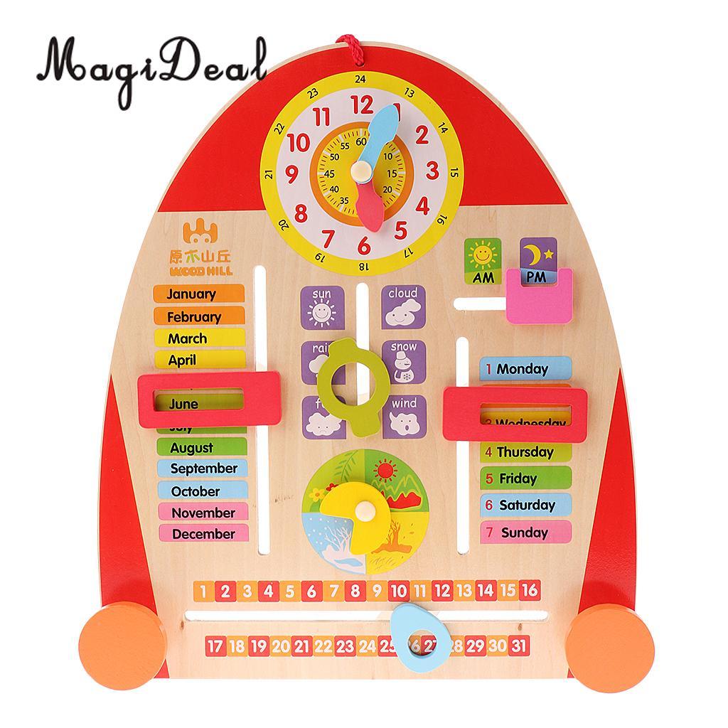 MagiDeal 1Pc Wooden Calendar Board Teaching Clock for Children Kids Educational Math Toys Excellent Gift