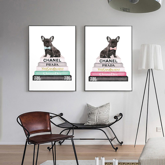 LECHAO Fashion Book Poster Vogue Dog Picture Waterproof Canvas Painting Home Decor For Living Room Two Color Unframed