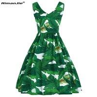 HimanJie Banana Leaves Digital Print Sleeveless V Neck A Line Slim Dresses High Quality Brand Summer