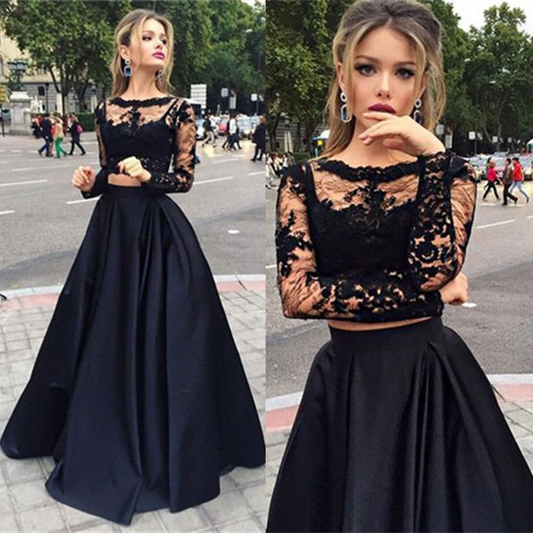 2019 New Taffeta Lace Long Black Long Full Sleeves Two Pieces Prom Dresses  Sheer Lace Top Taffeta Skirt 2 pieces Prom Gowns ade218f1f672