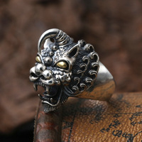 925Thai silver ring opening Chinese wind restoring ancient ways the mythical wild animal ring to her boyfriend