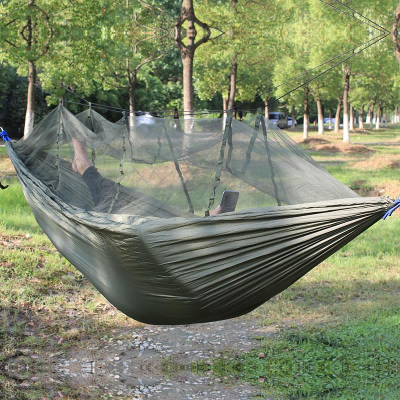 Army Green Mosquito Net Hammock 260*140cm Outdoor furniture Nylon Parachute cloth yellow green yellow hammock 260 140cm outdoor furniture loading 300kg