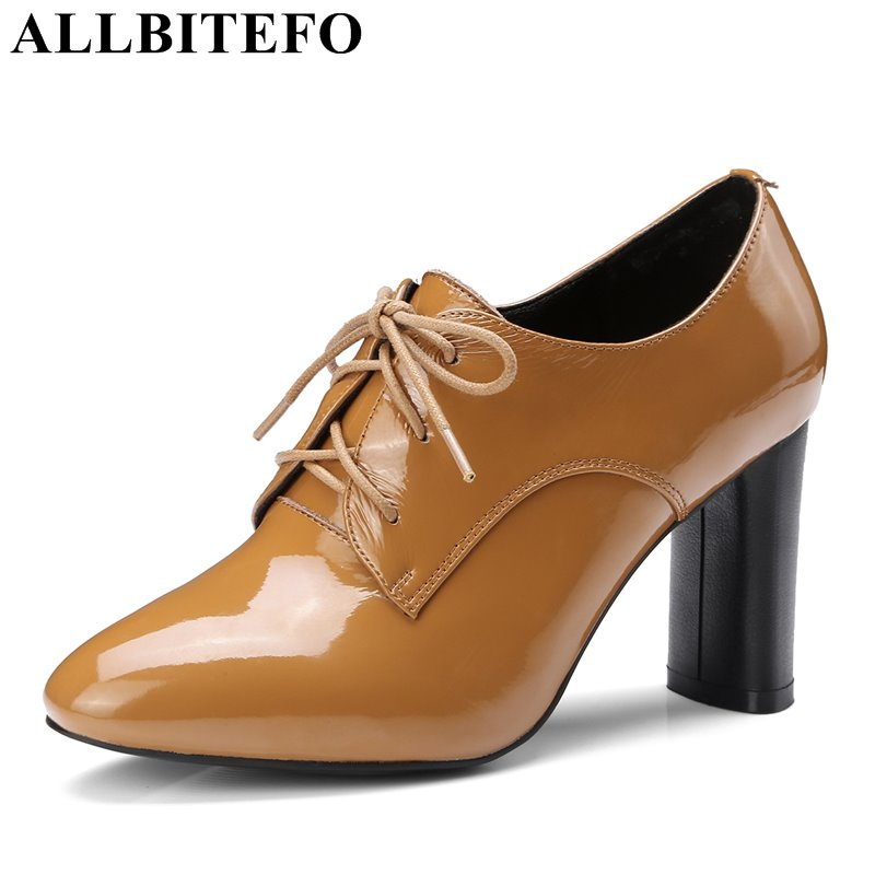 ALLBITEFO plus size:33-43 Patent leather pointed toe thick heel women pumps fashion brand high heels fashion high heel shoes new 2017 spring summer women shoes pointed toe high quality brand fashion womens flats ladies plus size 41 sweet flock t179