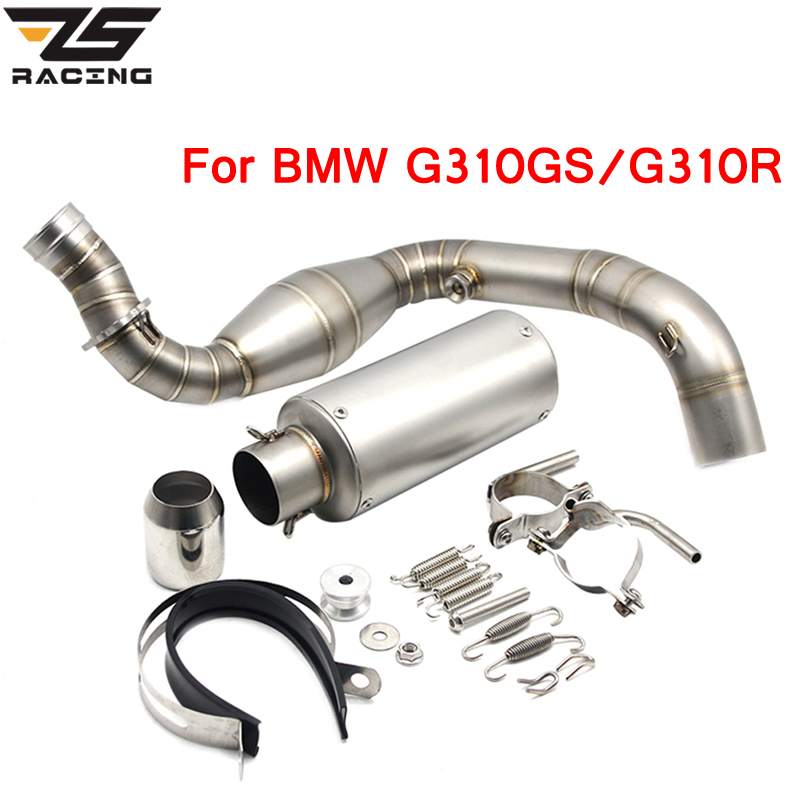 ZS Racing Slip on For BMW G310GS G 310 GS G310GS G310R G 310R Full System Muffler With Middle Stainless Steel Link Pipe толстовка g star raw 574765 gs g star logo