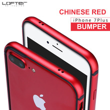 Lofter Chinese Red Ultra Thin Aluminum Bumper for iPhone 7 Plus Slim Metal Frame Phone Case Silicone Cover Coque Capinha Funda