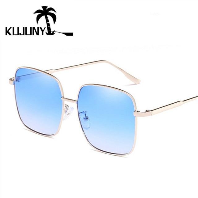 91967836aea75 Óculos de Sol das Mulheres Dos Homens KUJUNY RetroTrend Película  Transparente Oceano Eyewears óculos de Armação