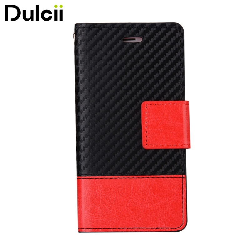 Dulcii for Apple iPhone 7 4.7 inch Phone Case Bi-color Carbon Fibre Leather Wallet Cell Phone Casing for iPhone7 4.7 inch ...