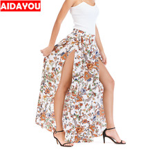 купить Long Floral Skirts Women beach Maxi Summer Skirt Long Length Ruffled Flower Size 10 Ladies A line Plus Size Skirt ouc352 дешево