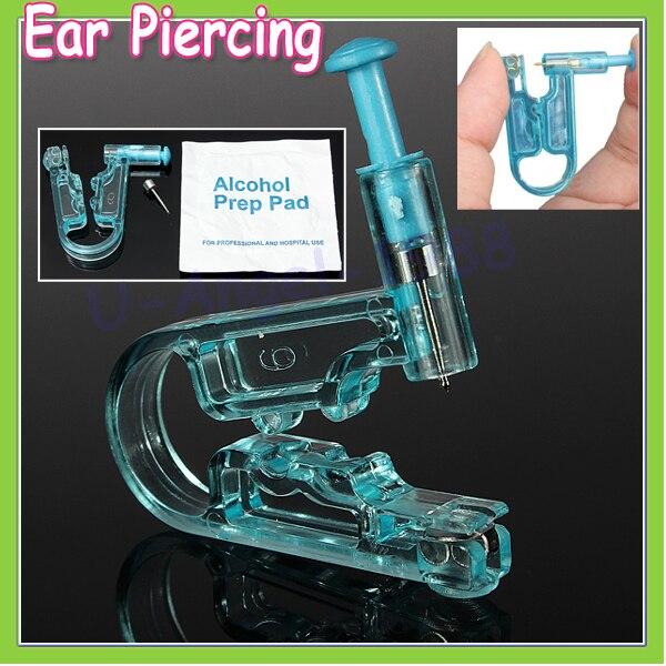 2pcs Women No Pain Ear Piercing Kit Disposable Safe Sterile Body Piercing Gun+Stainless Steel Stud+Alcohol Prep Pad Wholesale